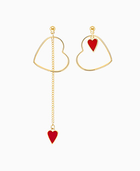 1045765 - <ER1701_CC07> [Same day delivery] [clip type] Unbalanced Red heart earrings