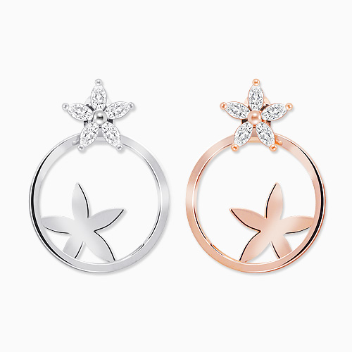 1045770 - <ER1350_CE10> [Silver Post] Intro Flower earrings