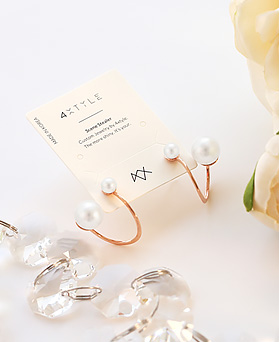 1045777 - <ER1349_CE10> [Silver Post] wave double pearl earrings