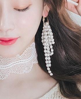 1045789 - <ER1351_CB09> Unbalanced alish pearl drop earrings