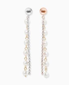 1045790 - <ER1353_GD04> [Silver Post] velvet pearl long earrings