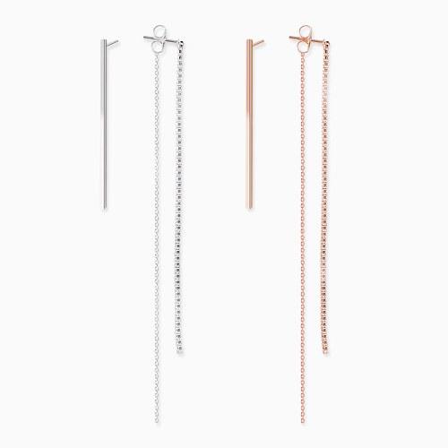 1045806 - <ER1359_BD08> [Silver] Unbalanced stick Ann chain long earrings