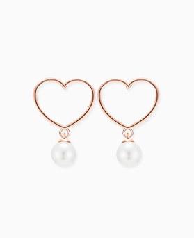1045820 - <SL452-BE06> [Silver] small heart pearl earrings