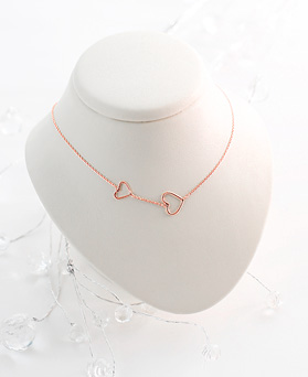 1045825 - <NE425_IG09> [Silver] twin heart necklace