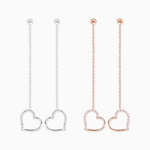 1045827 - <ER1362_DL12> [Silver Post] echo heart long earrings