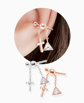 1045833 - <ER1367_S> [Sold out] [Sold individually] cross cubic drop ear cuff