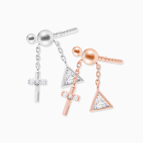 1045833 - <ER1367_CB14> [Sold individually] cross cubic drop ear cuff