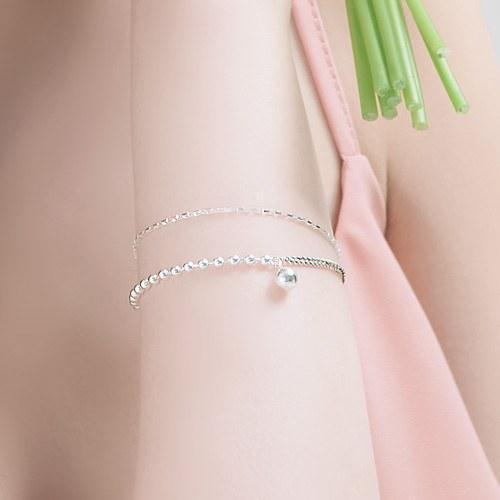 1045839 - <SL491-BD00> [Silver] square slim chain bracelet