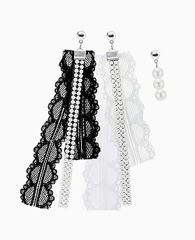 1045840 - <ER1365_CA14> [Release Date] [Silver Post] Unbalanced Doller lace earrings