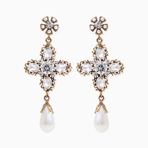1045844 - <ER1371_CA07> [Silver Post] vesta cross drop earrings
