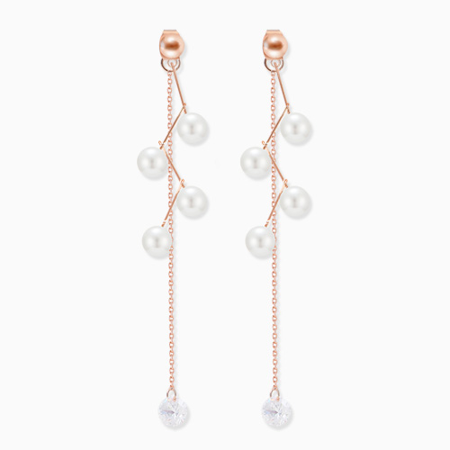 1045859 - <ER1375_CF08> [Silver Post] honey two-way pearl earrings