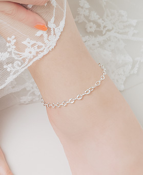 1045879 - <SL458-BD00> [Silver] cutting chain anklet