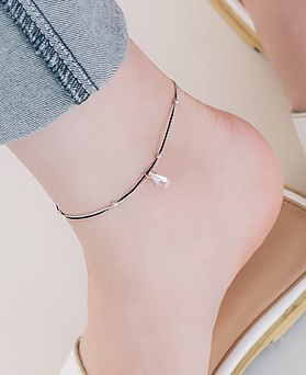 1045894 - <BC685_IB04> Water drop crystal anklet