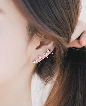 1045898 - <ER1385_S> Silver Post-Unbalanced bubble Tee earrings