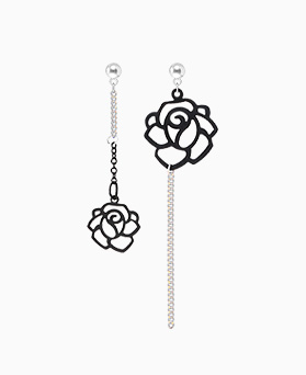 1045911 - <ER1394_IA01> black rose line earrings
