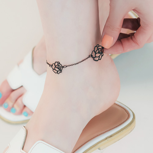 1045912 - <BC691_IA01> black rose line anklet