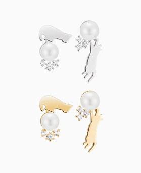 1045919 - <ER1396_CB06> [Silver Post] Mini cat earrings