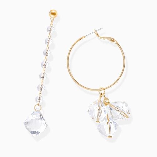 1045938 - <ER1403_CE11> [Silver Post] Unbalanced clear drop earrings