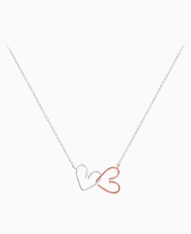 1045941 - <SL490-BD00> [Silver] double line heart necklace