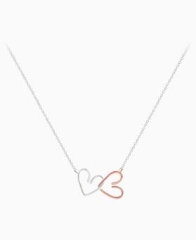 1045941 - <SL490-BD00> [Silver] double line heart necklace