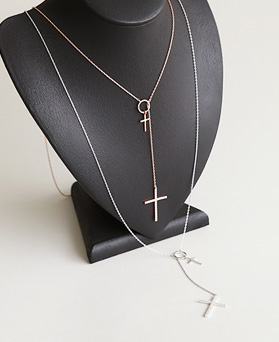 1045945 - <NE431_BC11> twin cross long necklace