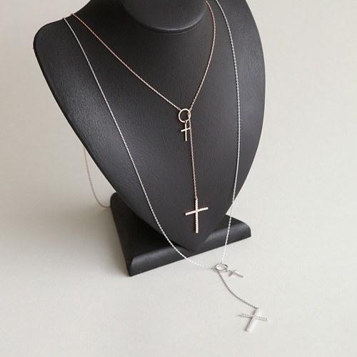 1045945 - <NE431_BC11> twin cross long necklace