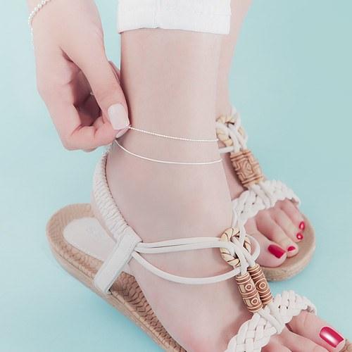 1045967 - <SL483-BD00> [Silver] Sherry 2line anklet