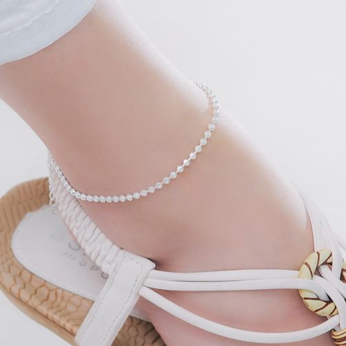 1045979 - <SL467-BE00> [Silver] wave ball anklet