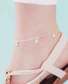 1045984 - <SL484-BD00> [Silver] foco Flower anklet