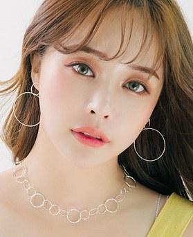 1045995 - <SL487-BD00> [Silver] diamond cutting ring earrings