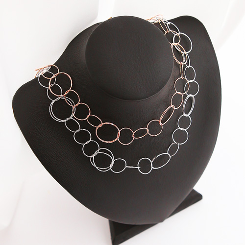 1045996 - <NE435_BC08> diamond cutting ring necklace
