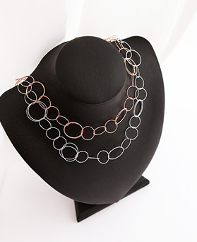 1045996 - <NE435_BC08> diamond cutting ring necklace