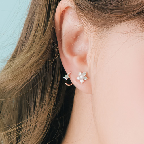 1045998 - <SL486-BD00> [Silver] Vito Mini ring earrings