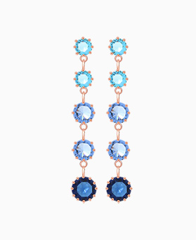 1046001 - <ER1409_CH11> [Silver Post] Sonia Blue long earrings