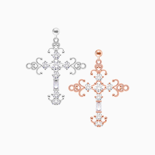 1046022 - <ER1413_CG18> [Silver Post] Jude cross earrings