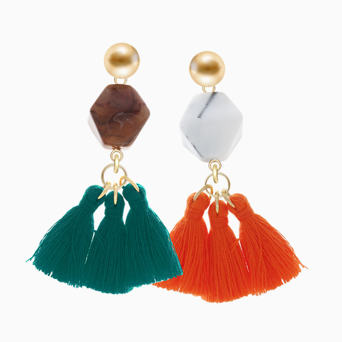 1046030 - <ER1421_CF10> [handmade] [Silver Post] Fedora triple tassel earrings