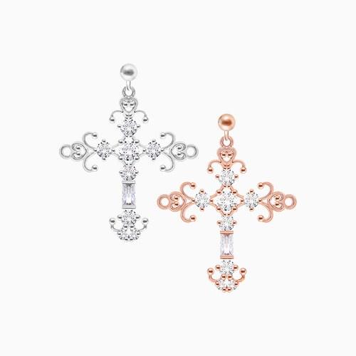 1046033 - <ER1413_CG18> [clip type] Jude cross earrings