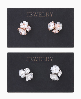 1046048 - <ER1418_CH14> [Silver Post] Alley Mother-of-Pearl Flower earrings