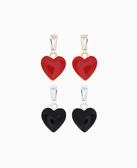 1046138 - <ER1434_CG16> [Silver Post] Red heart earrings