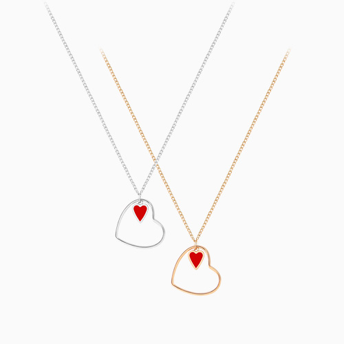 1046139 - <NE438_BF05> Red heart necklace