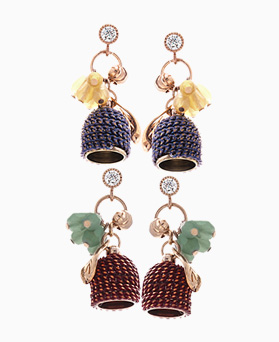 1046150 - <ER1437_CD06> [handmade] [Silver Post] ethnic bell crystal earrings