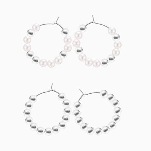 1046173 - <SL502_BD00> [Silver] silver ball earrings