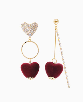 1046202 - <ER1445_CF15> Unbalanced Velvet heart earrings