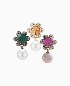 1046205 - <ER1442_CG15> [Silver Post] AriStar Flower pearl earrings
