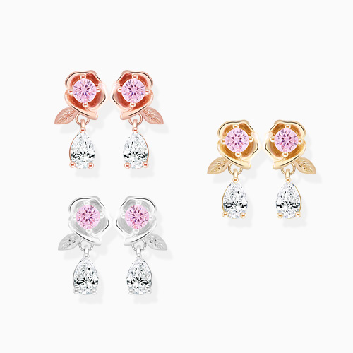 1046221 - <SL507_BD00> [Silver] Pink rosy garden earrings