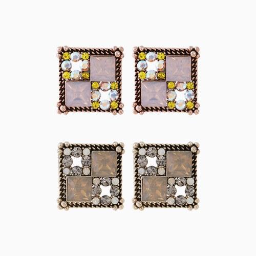 1046230 - <ER1450_DK16> [Silver Post] ethnic square earrings