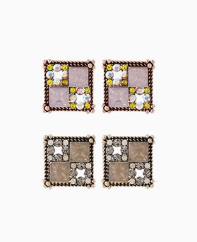 1046230 - <ER1450_DK16> [Silver Post] ethnic square earrings