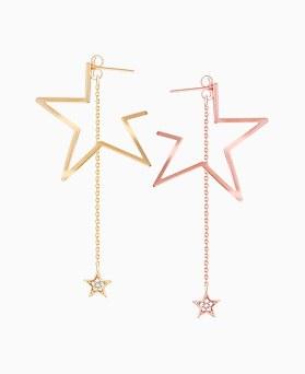 1046231 - <ER1453_CH06> [Silver Post] Bono star two-way earrings