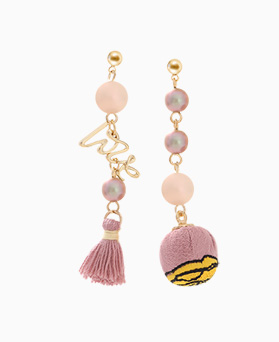 1046246 - <ER1464_CA07> ball Ann tassel Unbalanced earrings