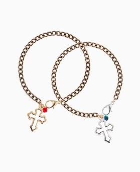 1046258 - <BC695_HE08> cross Ann crystal bracelet